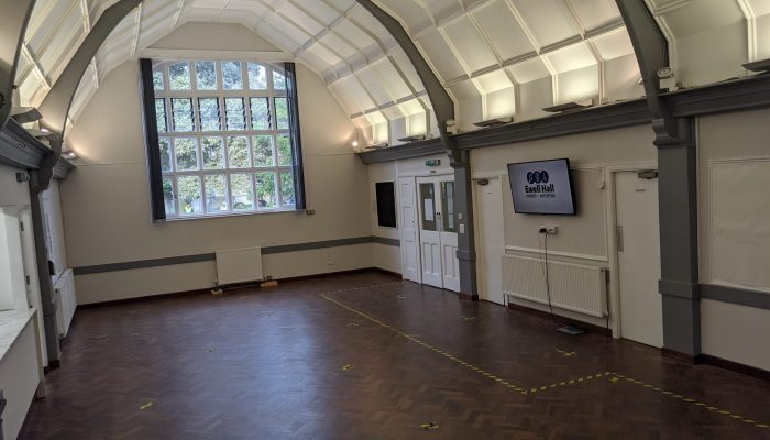 Looking towards the front of the hall