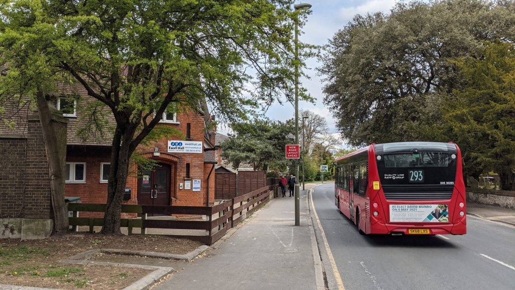 Approaching Ewell Hall Travelling North on London Road